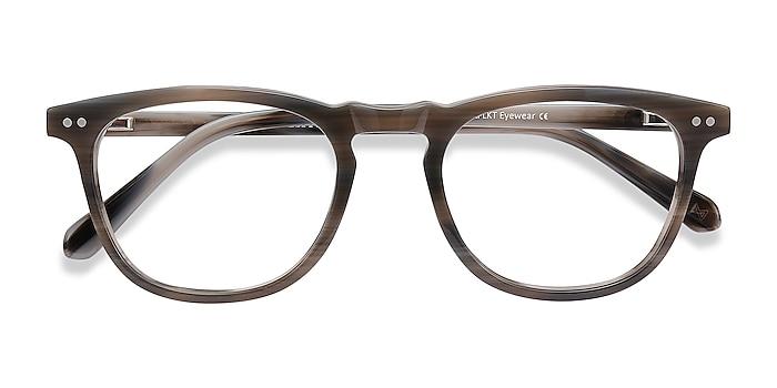 Gray Striped Illusion -  Vintage Acetate Eyeglasses