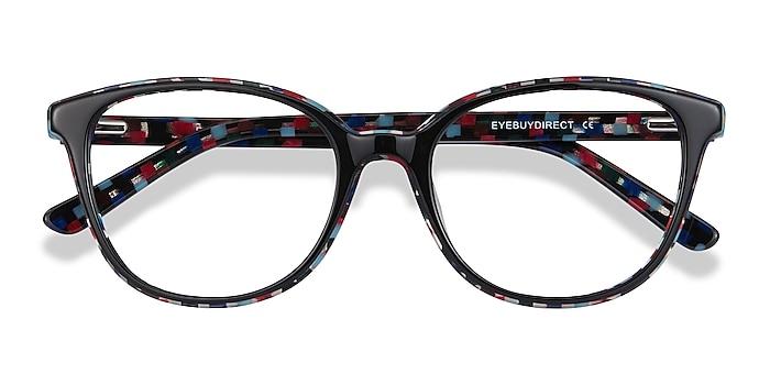 Black Floral Pixels -  Fashion Acetate Eyeglasses