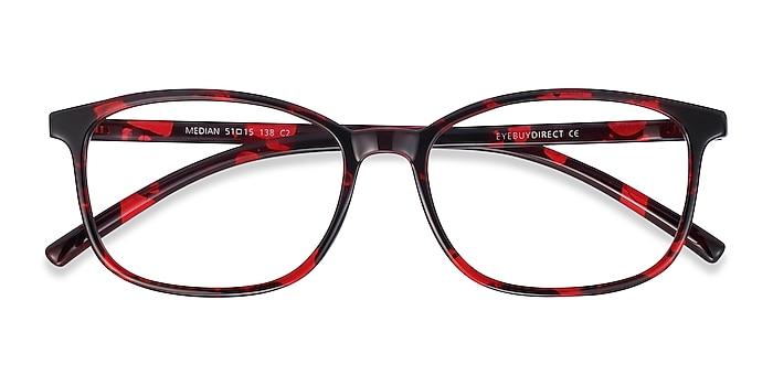 Red Floral Median -  Geek Plastic Eyeglasses