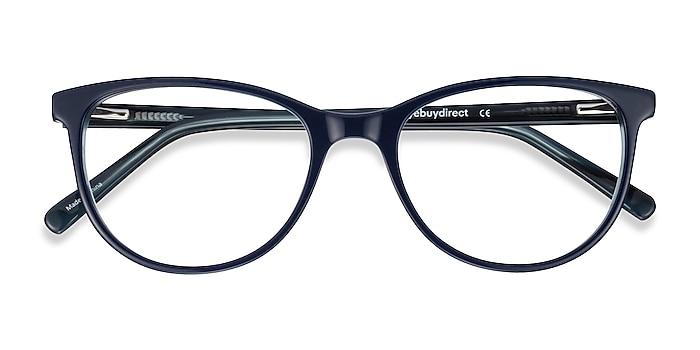 Blue Striped Sphinx -  Vintage Acetate Eyeglasses