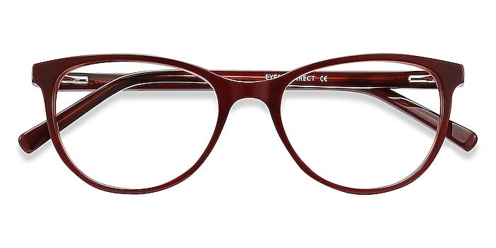 Red Striped Sphinx -  Vintage Acetate Eyeglasses