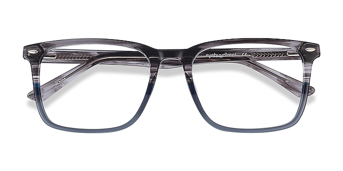 Gray Striped Tactician -  Acetate Eyeglasses