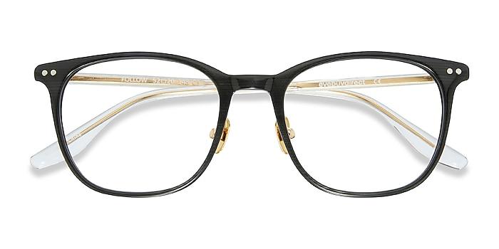 Gray Striped Follow -  Lightweight Acetate Eyeglasses