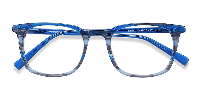 Blue Striped Gabor -  Colorful Acetate Eyeglasses