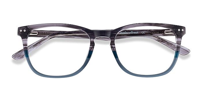 Gray Striped Gato -  Acetate Eyeglasses