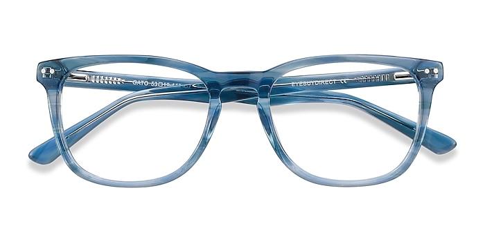 Blue Striped Gato -  Colorful Acetate Eyeglasses