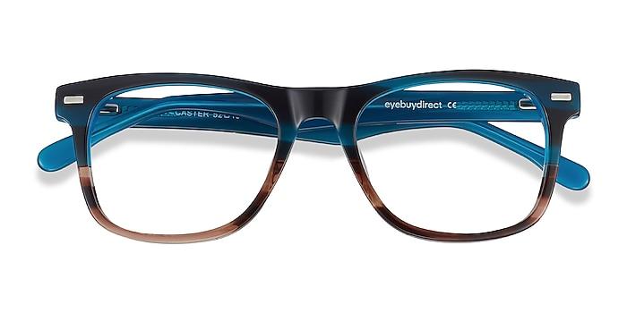 Blue Striped Caster -  Geek Acetate Eyeglasses