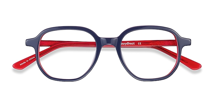 Navy & Red States -  Colorful Acetate Eyeglasses