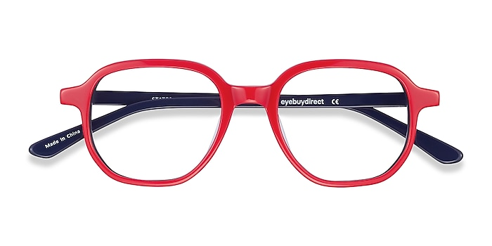 Red & Navy States -  Colorful Acetate Eyeglasses