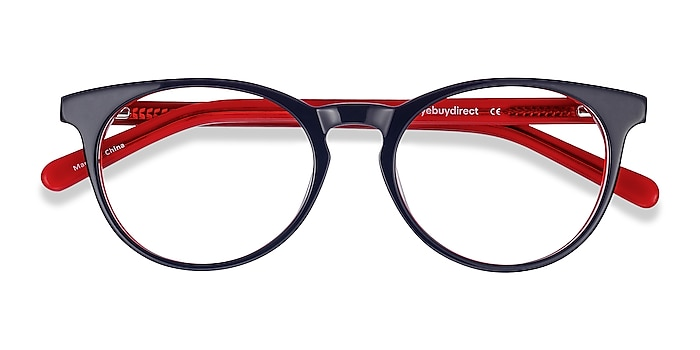 Navy & Red Tradition -  Colorful Acetate Eyeglasses