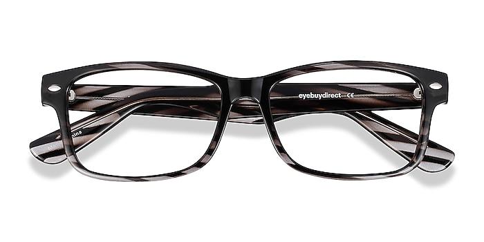 Black Striped Persisto -  Geek Plastic Eyeglasses