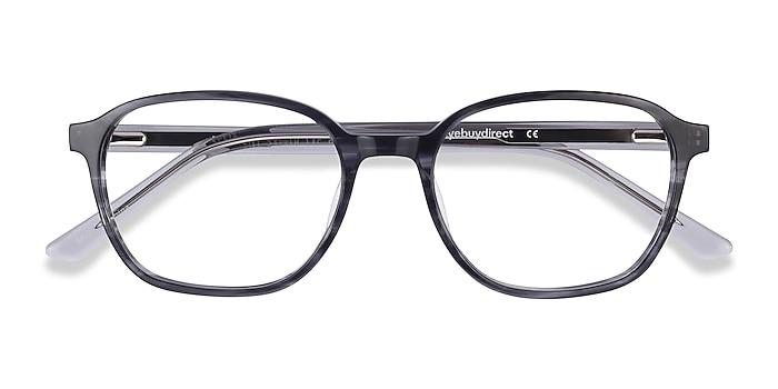 Black Striped Efficient -  Classic Acetate Eyeglasses