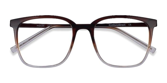 Gradient Brown House -  Plastic Eyeglasses