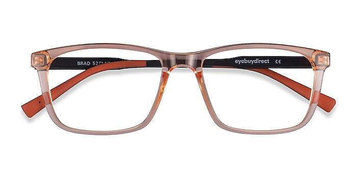 Clear Orange Black Brad -  Plastic Eyeglasses