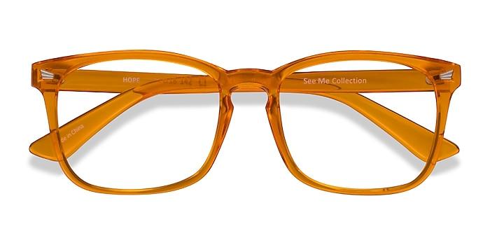 Clear Orange Hope -  Colorful Plastic Eyeglasses