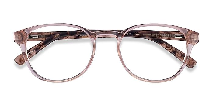 Clear Pink Floral Cool -  Plastic Eyeglasses