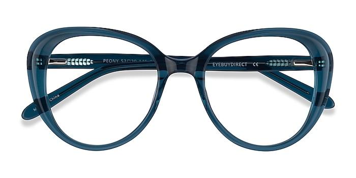 Clear Teal Peony -  Acetate Eyeglasses
