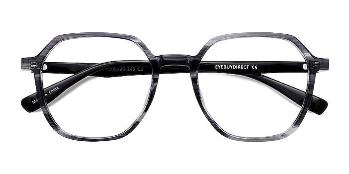 Gray Striped   Black Oscar -  Geek Acetate Eyeglasses