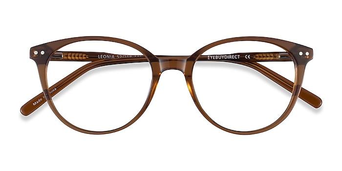 Clear Brown Leonia -  Acetate Eyeglasses