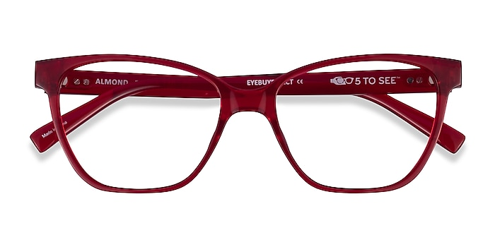 Clear Red Almond -  Plastic Eyeglasses