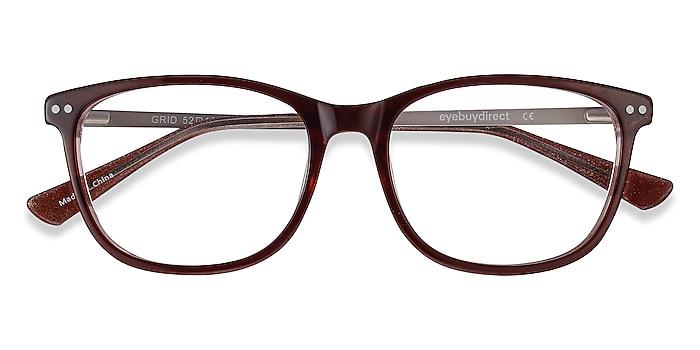 Brown Grid -  Lightweight Acetate, Metal Eyeglasses