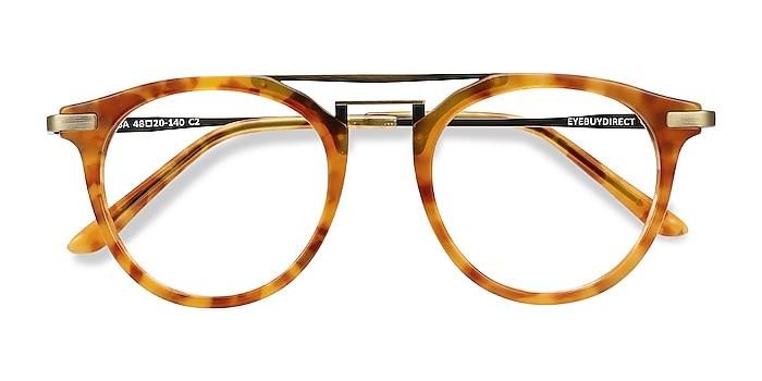 Light Tortoise Alba -  Vintage Acetate, Metal Eyeglasses