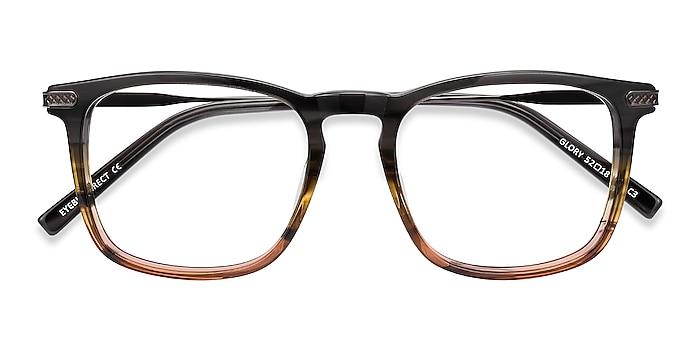 Gray Striped Glory -  Acetate, Metal Eyeglasses