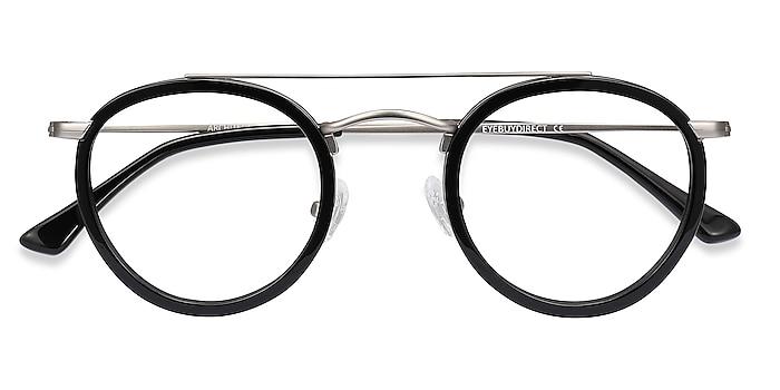 Black Silver Architect -  Vintage Acetate, Metal Eyeglasses