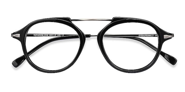 Black Gunmetal Terminal One -  Acetate, Metal Eyeglasses