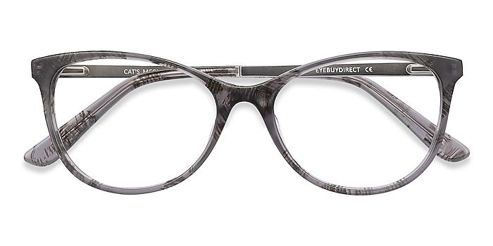 Gray Floral Cat's Meow -  Acetate, Metal Eyeglasses