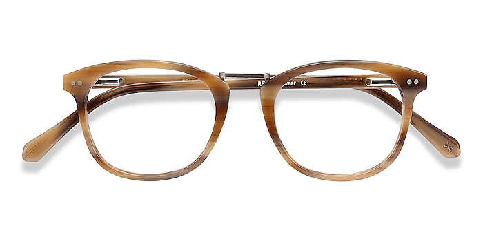 Brown Striped Era -  Vintage Acetate, Metal Eyeglasses