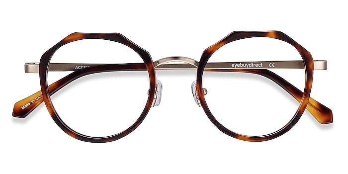 Tortoise Accent -  Vintage Acetate, Metal Eyeglasses