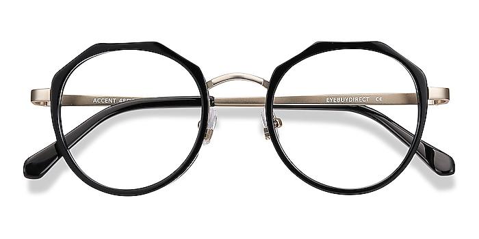 Black Accent -  Acetate, Metal Eyeglasses