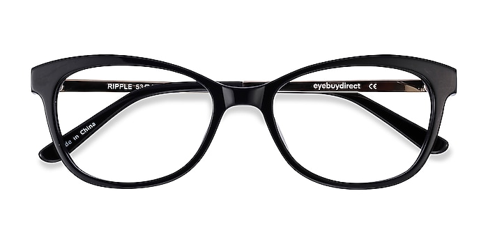 Black Ripple -  Vintage Acetate, Metal Eyeglasses