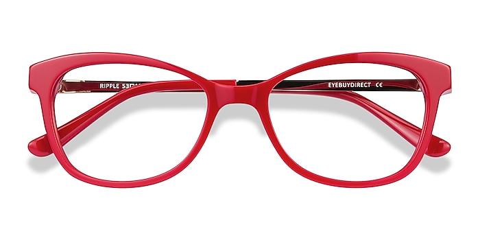 Red Ripple -  Vintage Acetate, Metal Eyeglasses