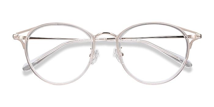 Clear Dazzle -  Lightweight Acetate, Metal Eyeglasses
