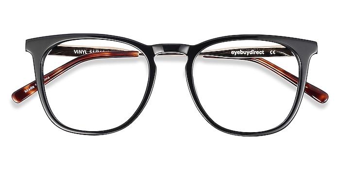 Black Vinyl -  Geek Acetate, Metal Eyeglasses