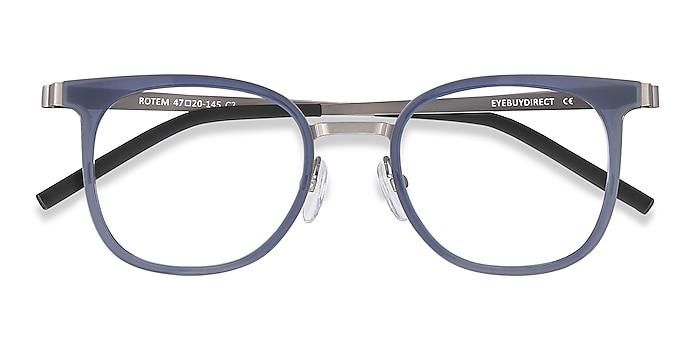 Navy Rotem -  Lightweight Acetate, Metal Eyeglasses