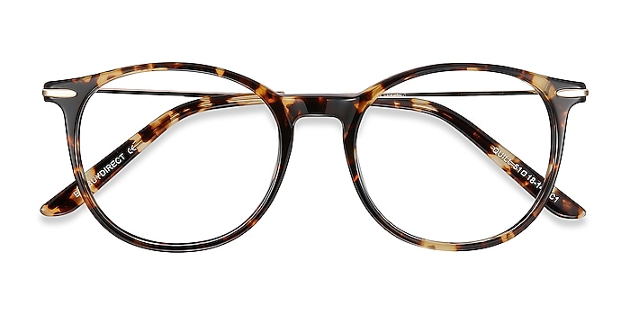 Tortoise Quill -  Vintage Acetate, Metal Eyeglasses