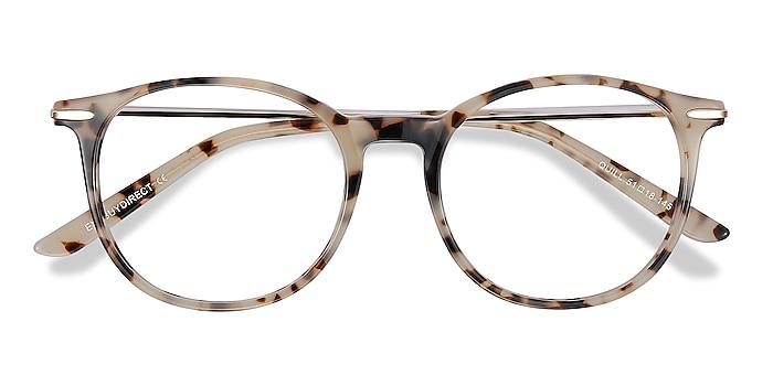 Ivory Tortoise Quill -  Vintage Acetate, Metal Eyeglasses
