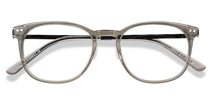 Clear Gray Savvy -  Légères Acetate, Metal Lunettes de vue