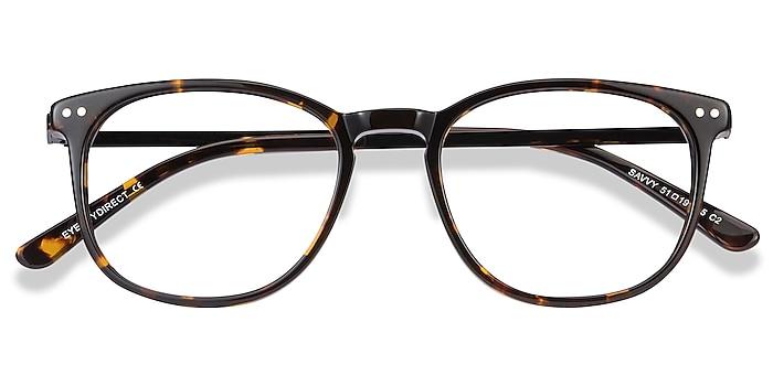 Tortoise Savvy -  Lightweight Acetate, Metal Eyeglasses