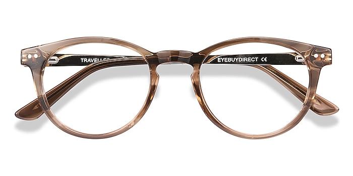 Brown Striped Traveller -  Acetate, Metal Eyeglasses