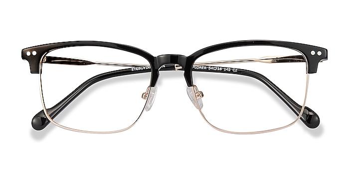 Black Explorer -  Vintage Acetate, Metal Eyeglasses