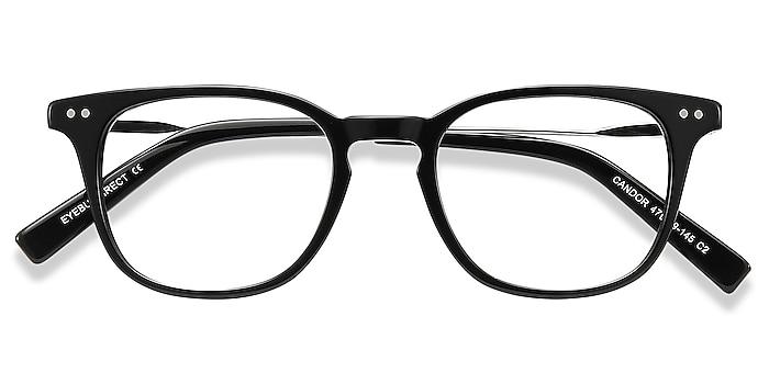 Black Candor -  Lightweight Acetate, Metal Eyeglasses