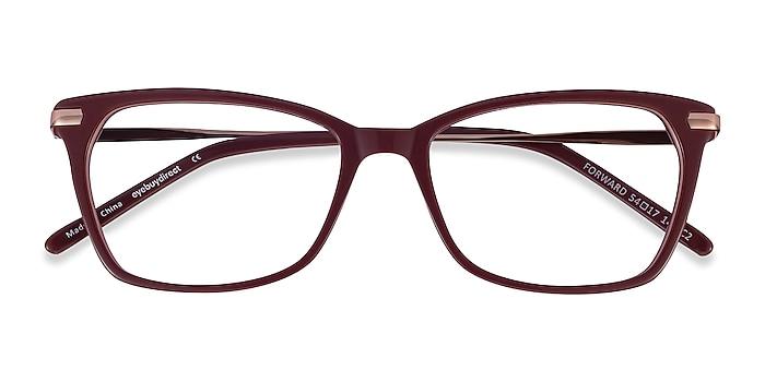 Burgundy Forward -  Classic Acetate, Metal Eyeglasses