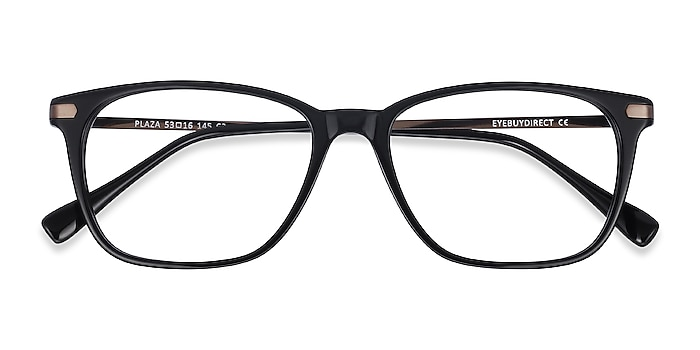 Black Plaza -  Lightweight Acetate, Metal Eyeglasses