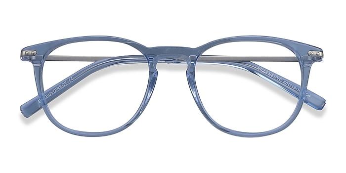 Blue Villeneuve -  Lightweight Acetate, Metal Eyeglasses