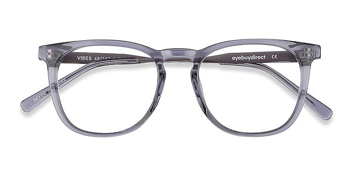 Clear Gray Vibes -  Fashion Acetate, Metal Eyeglasses