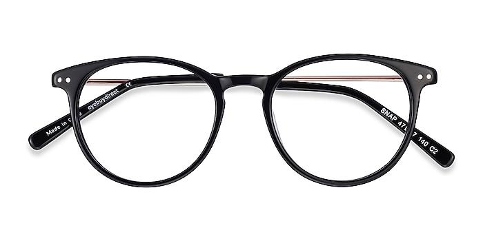Black Snap -  Lightweight Acetate, Metal Eyeglasses